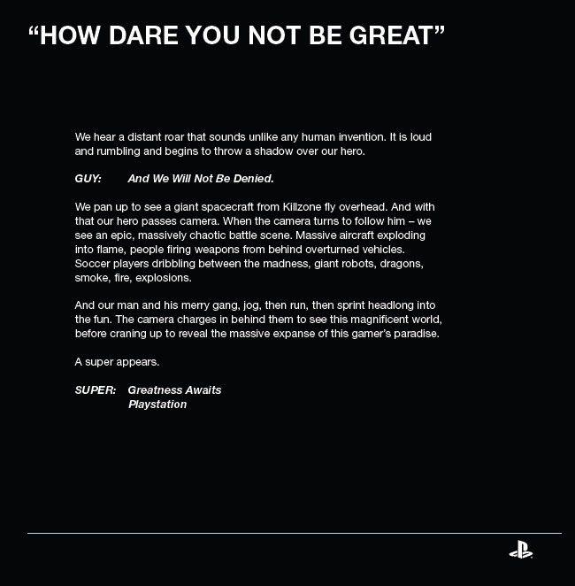 """""""Greatness Awaits"""" möglicher PS4 Werbeslogen"""