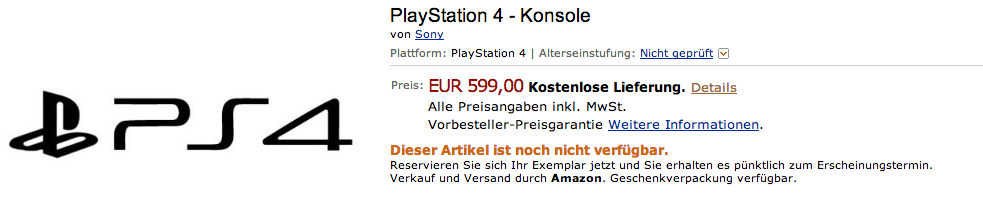 PlayStation 4 ab sofort bei Amazon vorbestellbar