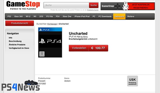 GameStop listet Uncharted für die PlayStation 4