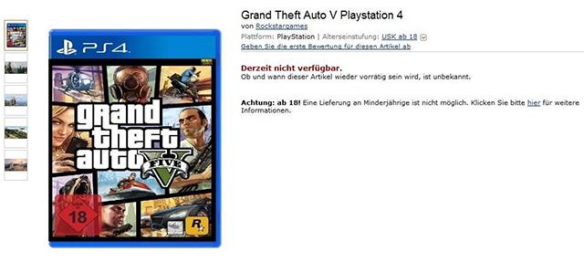 Amazon listet GTA 5 für die PlayStation 4