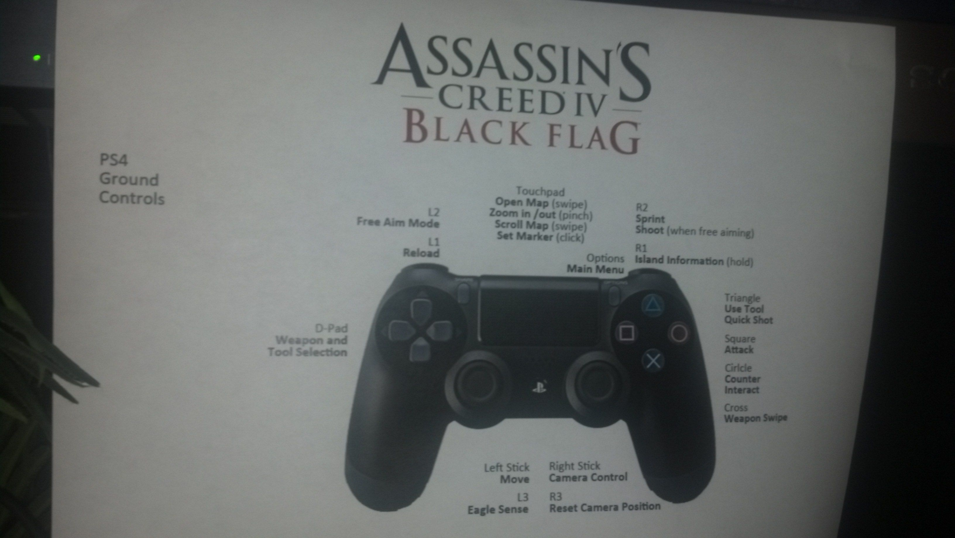 DualShock 4 Button-Belegung von Assassin's Creed 4
