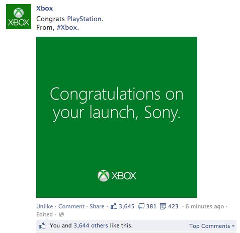 Xbox One Team gratuliert Sony zum erfolgreichen Start der PS4