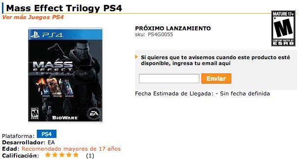 Mass Effect Trilogy für PlayStation 4 in Arbeit?