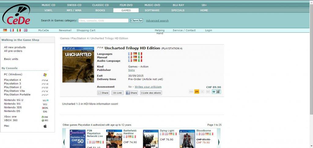 Uncharted Trilogie nun doch für die PlayStation 4?
